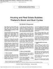 Housing and Real Estate Bubbles - Thailand's Boom & Bust Cycles (Dec 2008)