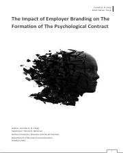 The Impact of Employer Branding on The Formation of The Psychological Contract