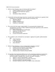 PADM 250 Final exam Questions