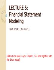 Lecture 5 - Financial Statements Modelling