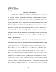 Slavery and Resistance Midterm Paper