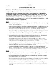 Crime and PUnishment Study Guide Questions and Worksheets