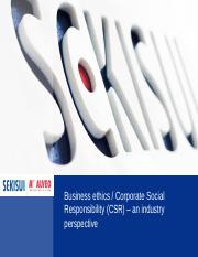 Business ethics_CSR an industry perspective