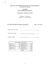 APM384 Official Material Fall 2013 Official Exam