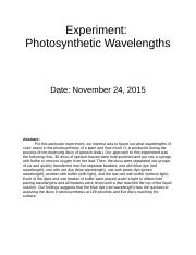 Photosynthetic Wavelengths Lab Report.docx