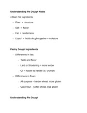 Understanding Pie Dough Notes