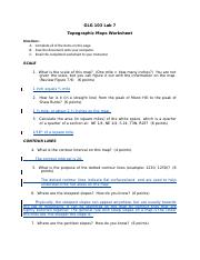Lab 07 - Topographic maps Worksheet