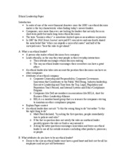 leadership and ethics essay outline