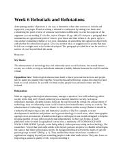 Week 6 Rebuttals and Refutations 3.1.docx