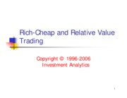 Bond Trading 1999 - Rich-Cheap & Relative Value