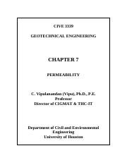 Chapter 7  Permeability 3339 Class Notes