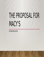 The proposal for macy's