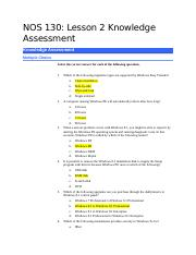NOS130-Lesson 2 Knowledge Assessment KA