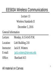 EE583A_2016F_Lecture 13- Wireless Standards II - Lecture