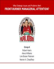 Papa John's Front Burner Managerial Attention