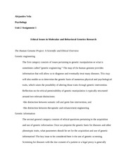Unit 2 - Assignment 1 - Ethical Issues in Molecular and Behavioral Genetics Research
