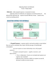 Financial Acct - Deferrals Study Guide
