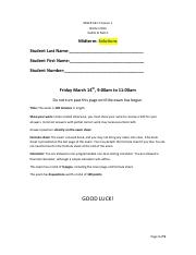 Finance 1 Midterm Winter 2014 Solutions