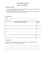 Unit 1 Written Exam Prep_Social Injustice