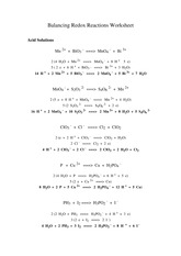 Balancing Redox Reactions Worksheet - AcidSolutions Mn2 BiO3=>MnO4 ...
