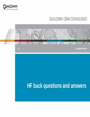 HF buck questions and answers