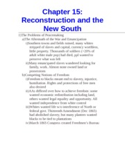 Chapter 15- Reconstruction and the New South