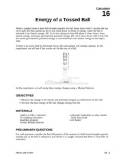 16 Energy of a Tossed Ball