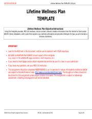 Upload 1 - Lifetime Wellness Plan TEMPLATE Lifetime Wellness Plan ...