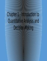 1. Intro to Quantitative Analysis and Decision-Making (for BB)