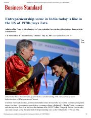 5. Entrepreneurship scene in India today is like in the US of 1970s, says Tata -Business Standard.pd