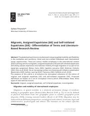 [Journal of Intercultural Management] Migrants, Assigned Expatriates (AE) and Self-initiated Expatri