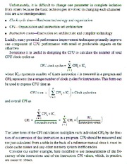 CPU Performance Equation contd.