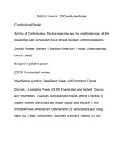Political Science 110 Constitution Notes