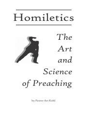 homiletics pdf - Homiletics The Art and Science of Preaching