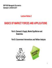 BSP1005 Lecture Notes 2 - Basics of Market Forces and Applications