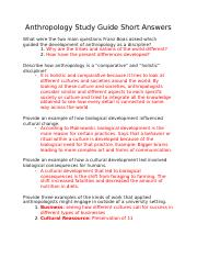 Anthropology Study Guide Short Answers.docx