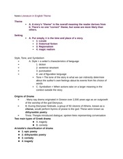 Notes Literature in English Theme