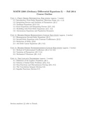 MATH 2260 Fall 2014 Course Outline