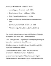 History of Mental Health and Illness Notes