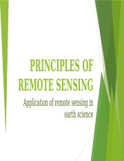 PRINCIPLES OF REMOTE SENSING power point