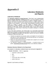 Appendix E - Notebook and Report Outlines