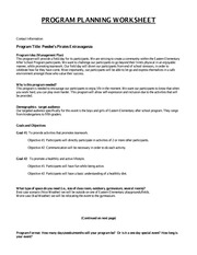 GAP 4 PROGRAM PLANNING WORKSHEET Part 2