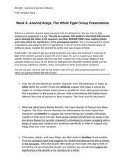 Adiga Close Reading Study Questions and Presentation Assignment