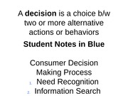 Consumer Decision Making w/ Student Notes