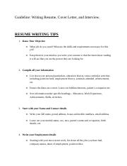 Addional Note-Guideline-RESUME, COVER LETTER