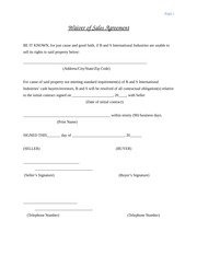 B and S Waiver of Sales Agreement