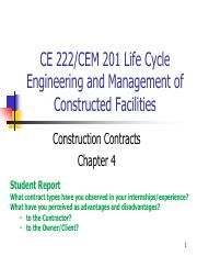 Chapter 4 - Construction Contracts