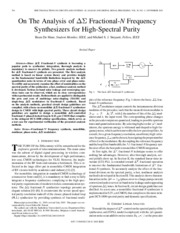 [Bram De Muer,03]On The Analysis of Delta-sigma Fractional-N Frequency Synthesizers for High-Spectra