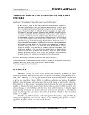 OPTIMIZATION OF BIOCIDE STRATEGIES ON FINE PAPER (1)