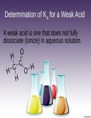 Determination of Ka for a Weak Acid